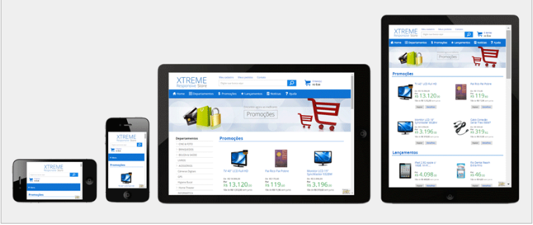 E-commerce responsivo: celular, tablet, notebook e desktop